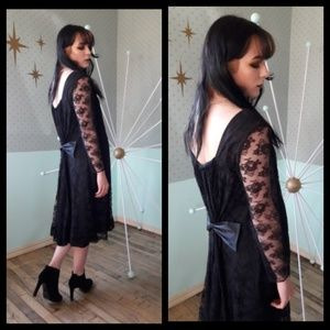 Stunning vintage 60's black lace dress with bow!